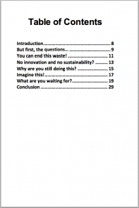 End the Waste Ebook Table of Contents