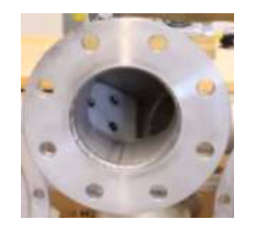 The wide flow section continues through to the internal directional swing check valve.