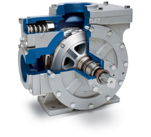 Corken's positive displacement sliding vane pump cutaway