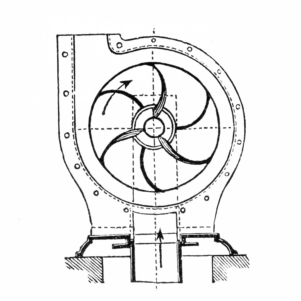 Antique illustration of a centrifugal pump